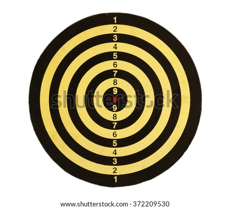 Yellow and black dart board isolation on white background photo