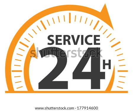 Yellow and Black Service 24H Icon, Badge, Label or Sticker for Customer Service, Support or CRM Concept Isolated on White Background  - stock photo
