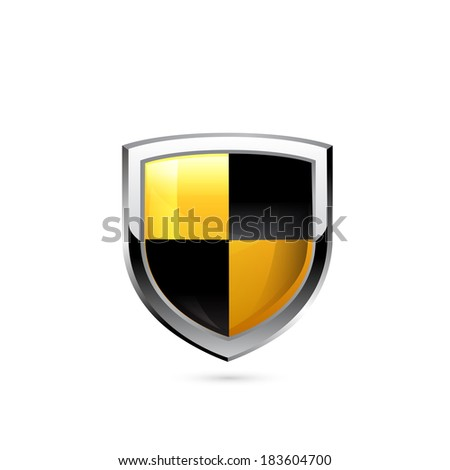 Yellow and black shield. Raster copy. - stock photo