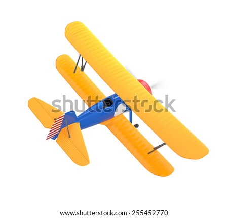 Yellow and blue biplane flying in the sky - stock photo