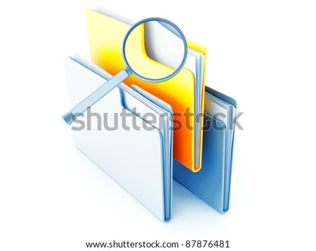 yellow and blue folders with papers under magnification - stock photo