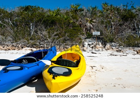Yellow and blue kayaks on the white sand beach with trees and scrub brush in the background.  copy space in the sand available - stock photo