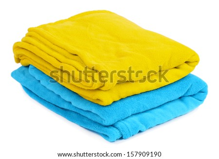 Yellow and blue plaids isolated on white