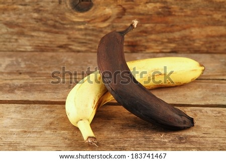 yellow and Brown banana on wooden table