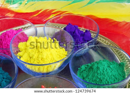 Yellow and green gulal for holi festival - stock photo