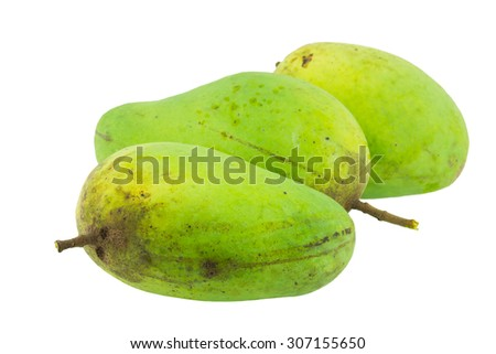 Yellow and green mango fruit isolated on white