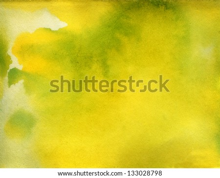Yellow and green watercolor background texture - stock photo