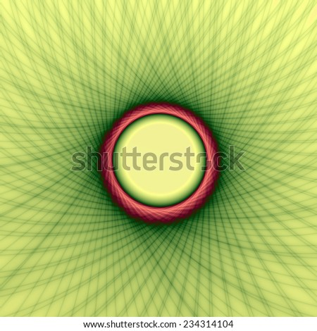 Yellow and Green Weave Frame / A digital abstract fractal image with a woven look frame design in yellow, green and red. - stock photo