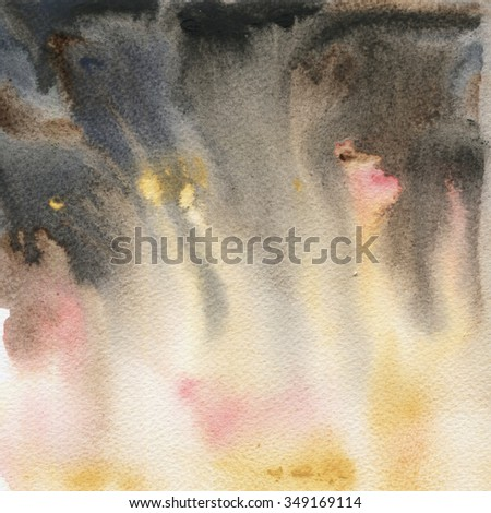 Yellow and grey spots gradient, watercolor abstract hand painted texture. Landscape sky background.  - stock photo