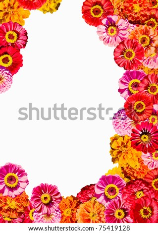 Yellow and orange flowers frame - stock photo