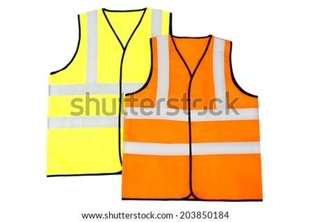 Yellow and Orange Reflector Vests, Isolated on White Background - stock photo