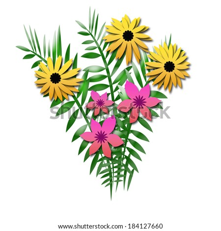 yellow and pink flower bouquet with ferns illustration - stock photo