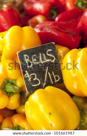 Yellow and red bell peppers.