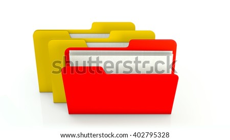 Yellow and red office file folder icon on white background