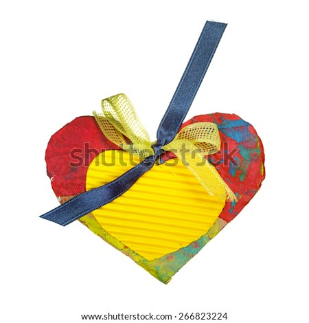 Yellow and red painted paper hearts with blue ribbon isolated on white - stock photo
