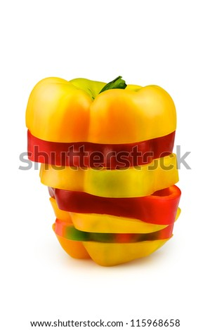 Yellow and red pepper slices oneeach other