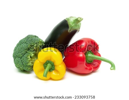 yellow and red peppers, eggplant and broccoli isolated on white background close-up. horizontal photo. - stock photo