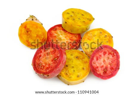Yellow and red prickly pear slices - stock photo