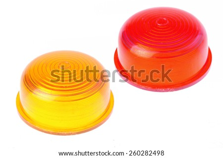 yellow and red warning car lights isolated on white  - stock photo