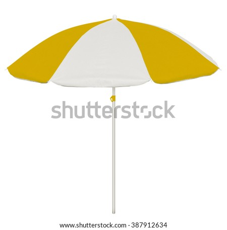 Yellow and white beach umbrella isolated on white. Clipping path included. - stock photo