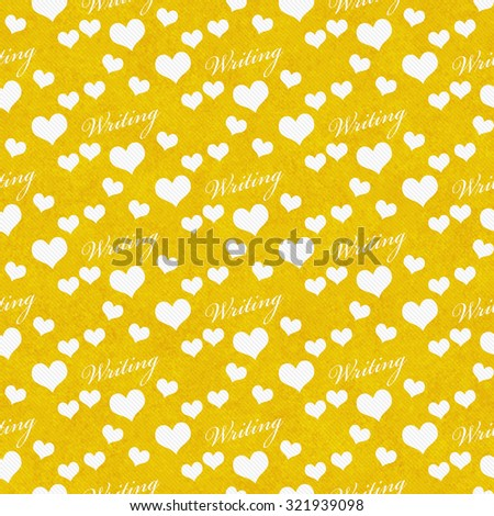 Yellow and White I Love Writing Tile Pattern Repeat Background that is seamless and repeats - stock photo