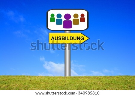 yellow and white Signpost showing direction - Education in german language