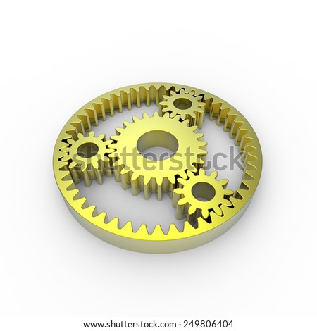 Yellow anodized steel planetary gears on a white background - stock photo
