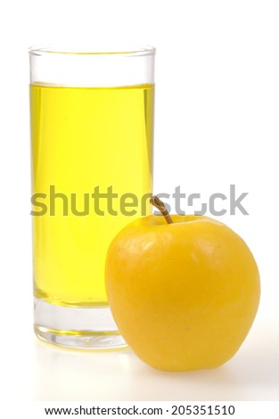 Yellow apple and juice isolated on white background - stock photo