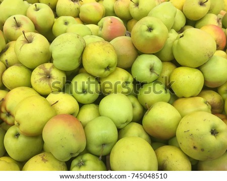 yellow apple harvest. many apples.