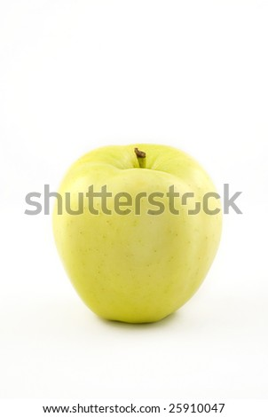 Yellow Apple isolated on white background with copy space - stock photo