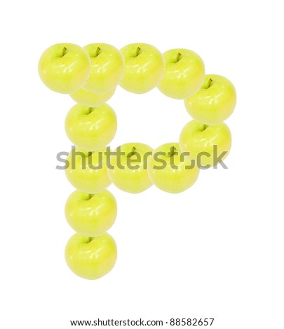 yellow apple letter p on white background