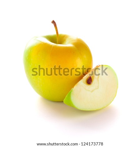 Yellow Apple with Apple Slice on the White Background - stock photo