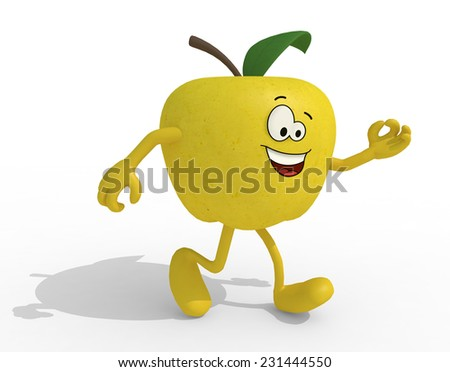 yellow apple with arms, legs and face cartoon, 3d illustration - stock photo