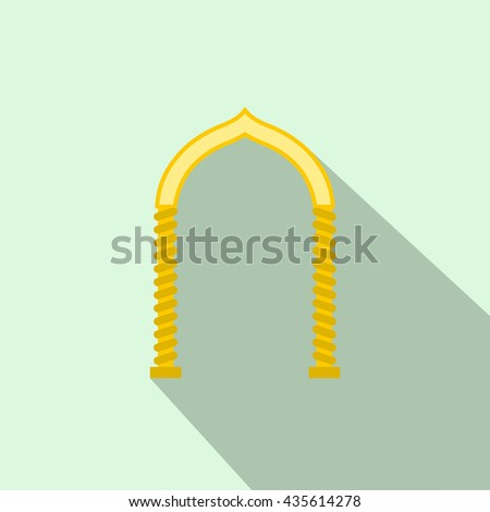 Yellow arch icon, flat style - stock photo