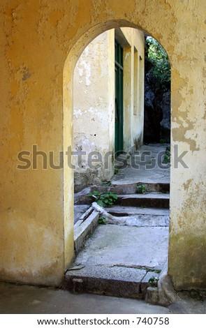 yellow archway - stock photo
