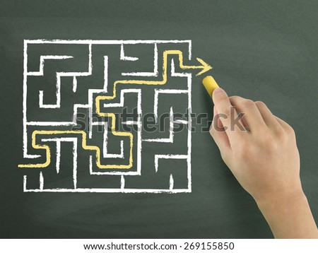 yellow arrow going through a maze drawn by hand isolated on blackboard - stock photo