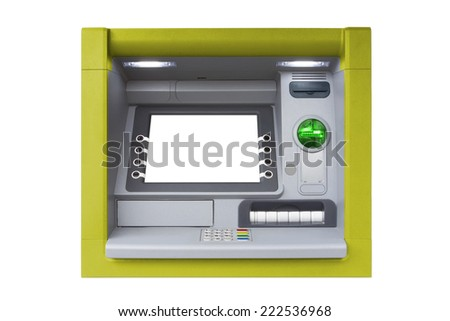 Yellow ATM with blank screen isolated on white background - stock photo