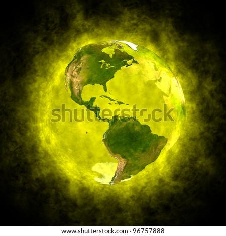 Yellow aura of Earth - America - stock photo