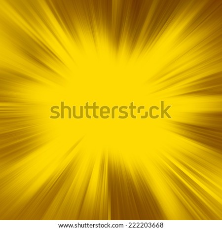 yellow background, gold streaks of light radiate from center to brown frame in sunburst pattern - stock photo