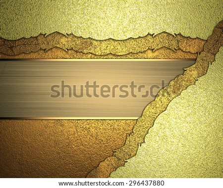 Yellow background with decorative corner and golden ribbon. Element for design. Template for design - stock photo