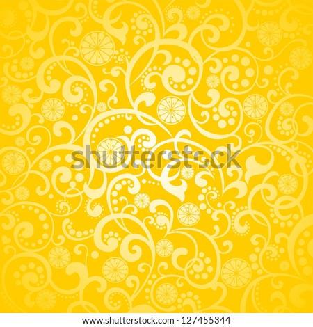 Yellow background with lemon.  Illustration - stock photo