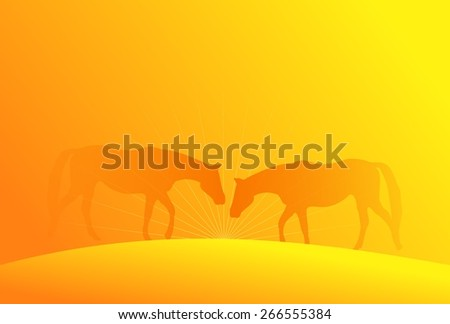 Yellow background with silhouette of horse couple