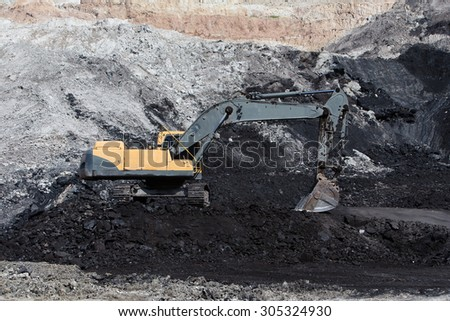 yellow Backhoe work in coalmine