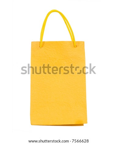 Yellow bag isolated on white (clipping path)