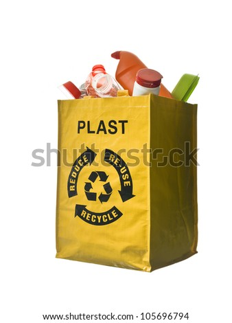 Yellow bag with plastic recycling - stock photo