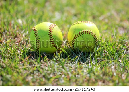 yellow ball for softball match - stock photo