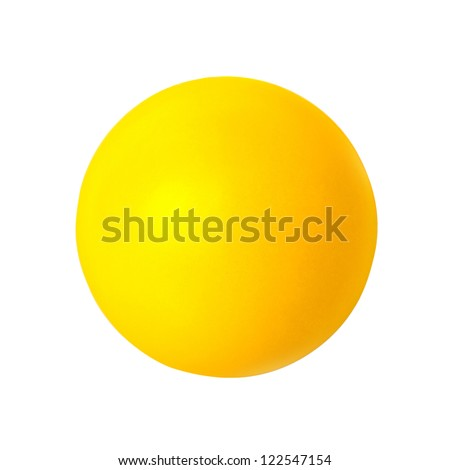 Yellow ball on white background. Outline paths for easy outlining. Great for templates, icon background, interface buttons. - stock photo