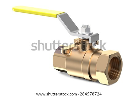 yellow ball valve isolated on white background - stock photo
