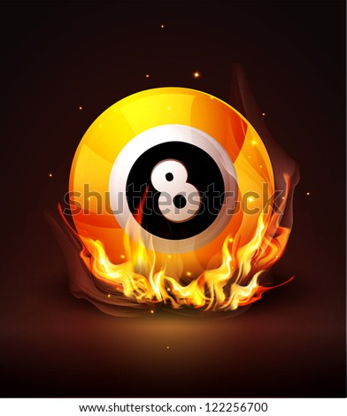yellow ball with the number 8 - stock photo