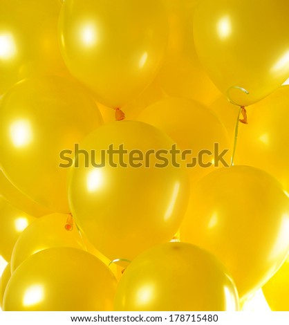 Yellow balloons background - stock photo